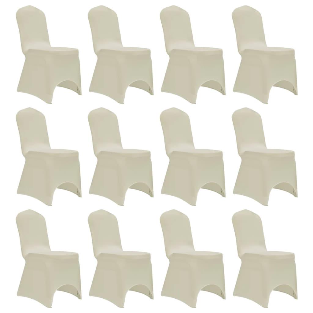 vidaXL Huse elastice pentru scaun, 12 buc., crem poza vidaxl.ro