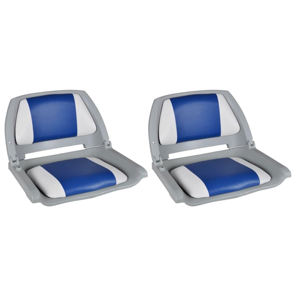 Sedadla do člunu 2 ks sklopná modrobílá poduška 41 x 51 x 48 cm