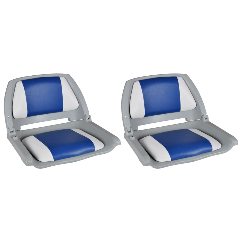 vidaXL Sedadla do člunu 2 ks sklopná modrobílá poduška 41 x 51 x 48 cm