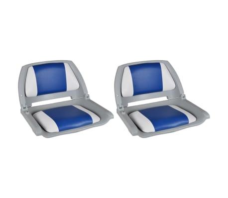 vidaXL Båtseter 2 stk sammenleggbar rygg med blå-hvit pute 41x51x48 cm
