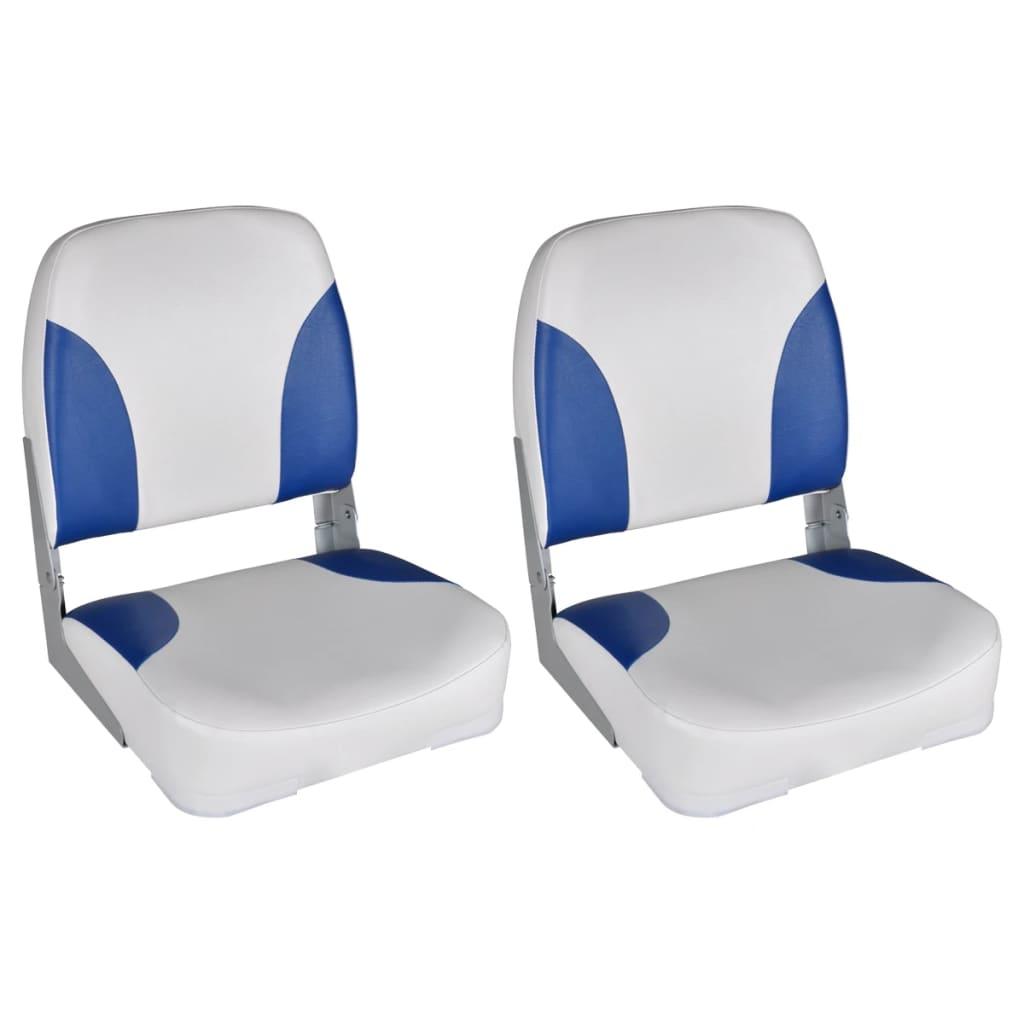 vidaXL Sedadla do člunu 2 ks sklopná modrobílá poduška 41 x 36 x 48 cm
