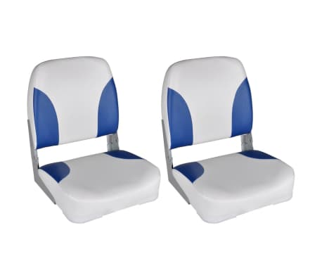 vidaXL Assentos barco 2 pcs encosto dobrável azul/branco 41x36x48 cm