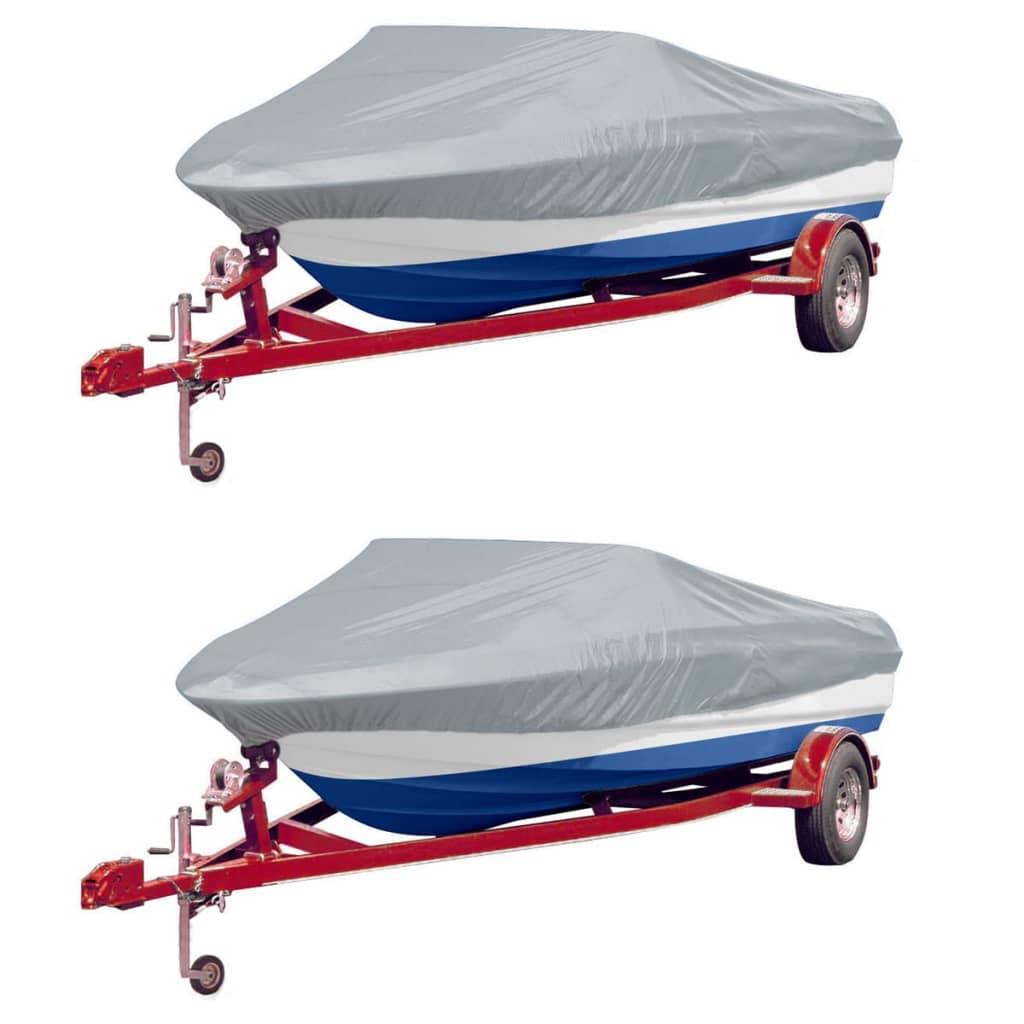 Krycí plachty na člun 2 ks šedé délka 610–671 cm šířka 254 cm
