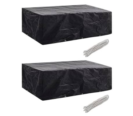 vidaXL Garden Furniture Covers 2pcs 8 Person Poly Rattan 300x140 cm