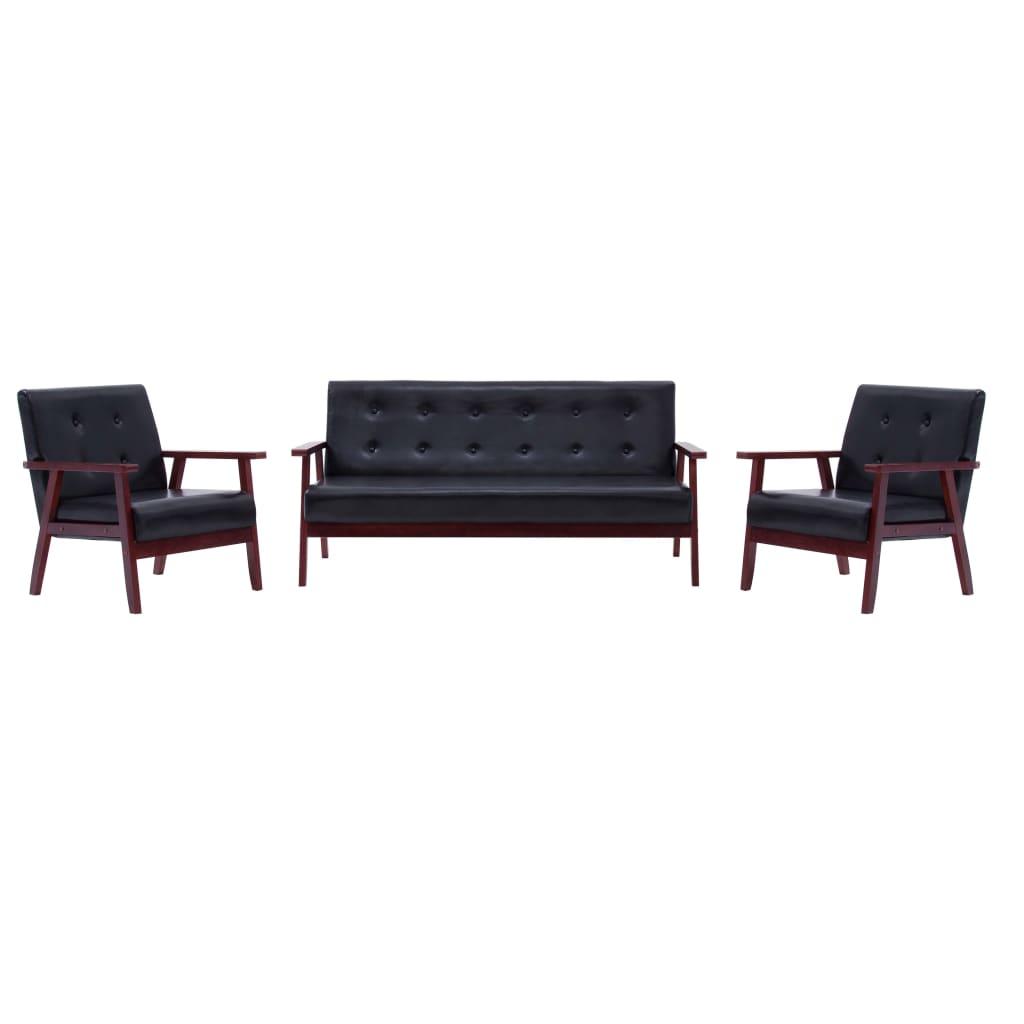 vidaXL Set canapea, 3 piese., negru, piele artificială imagine vidaxl.ro