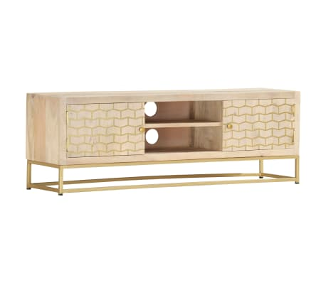 Vidaxl Tv Cabinet Gold 120x30x40 Cm Solid Mango Wood Vidaxl Co Uk