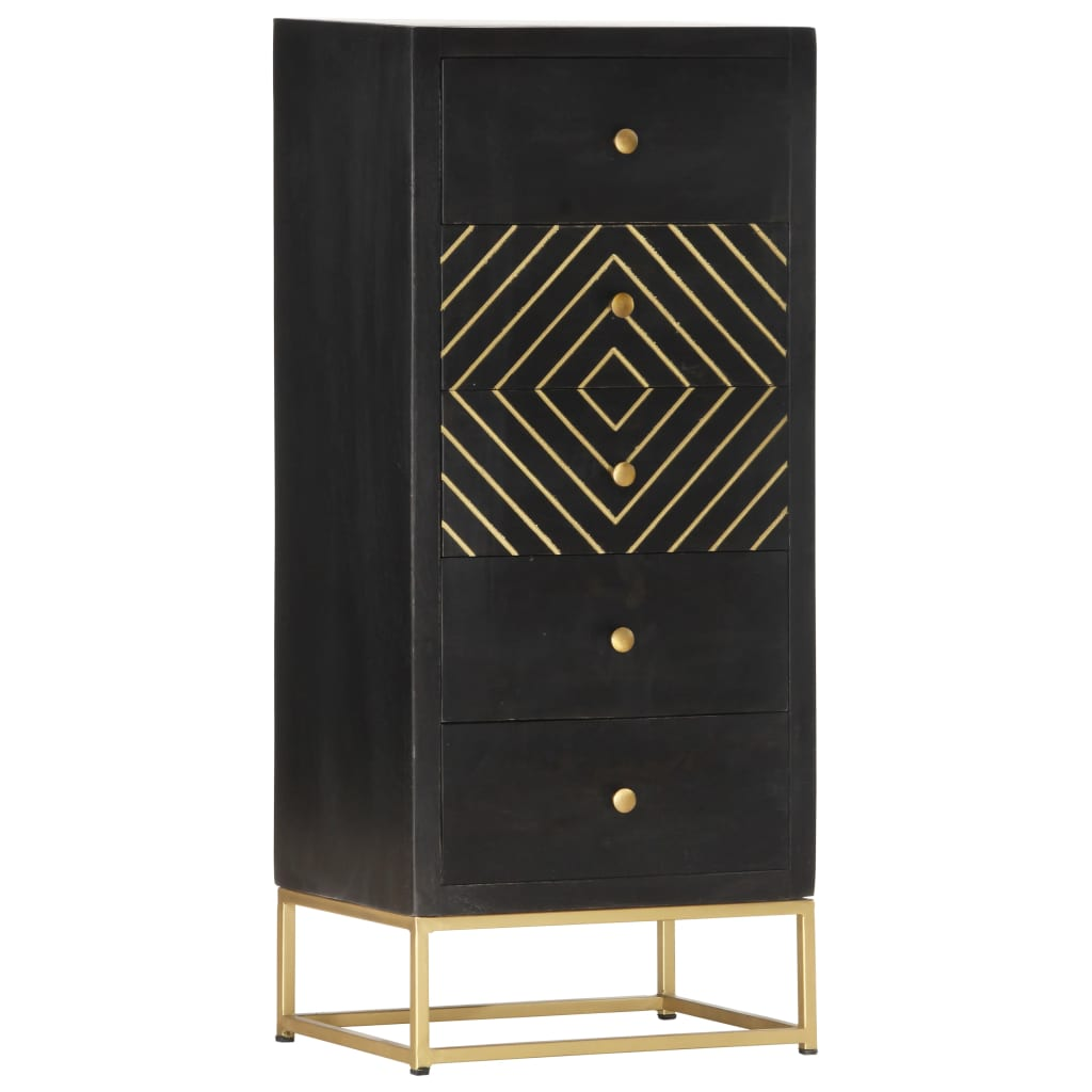 vidaXL Dulap cu sertare, negru/auriu, 45 x 30 x 105 cm, lemn de mango vidaxl.ro
