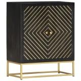 vidaXL Buffet Noir et doré 60 x 30 x 75 cm Bois de manguier massif