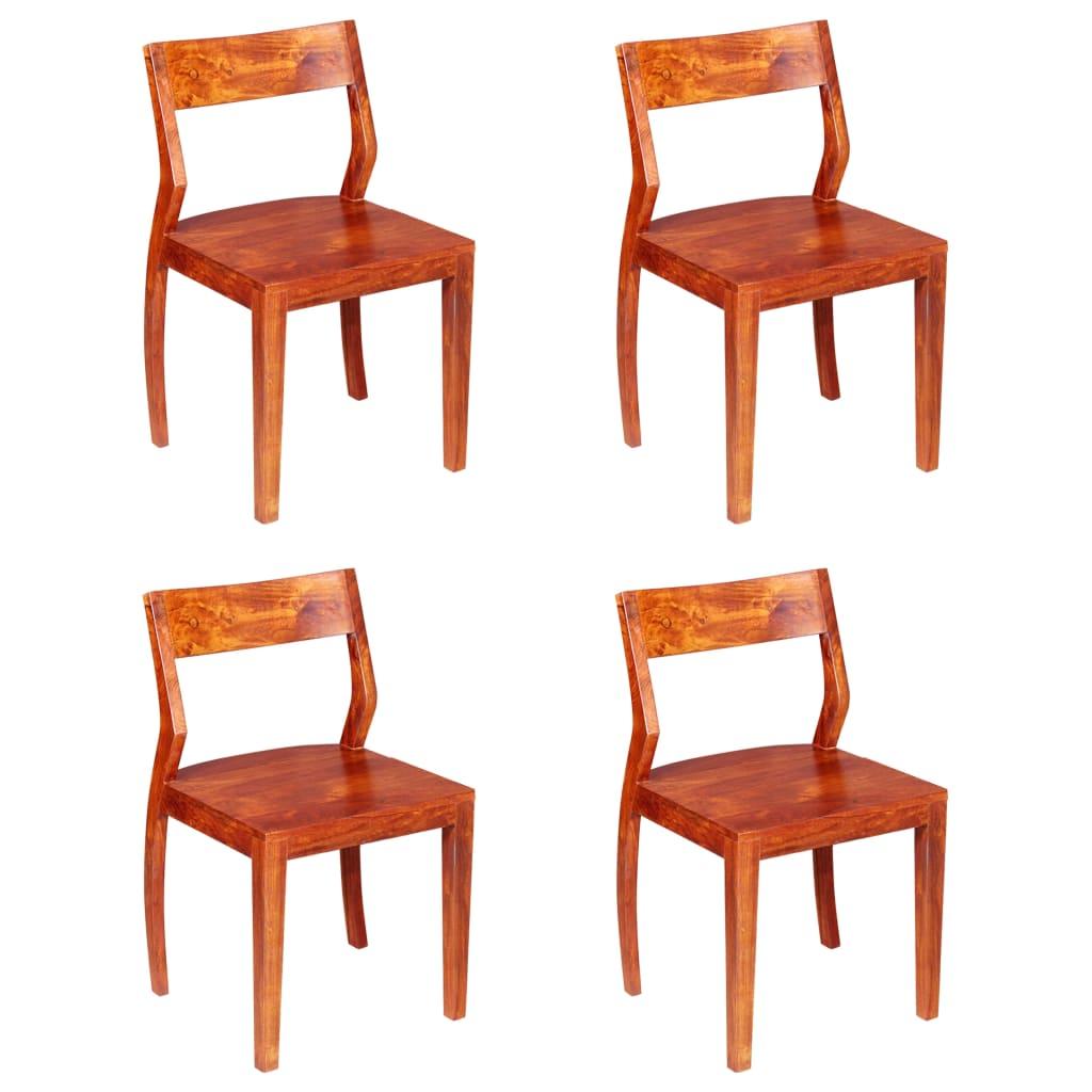vidaXL Καρέκλες Τραπεζαρίας 4 τεμ. από Μασίφ Ξύλο Ακακίας & Sheesham