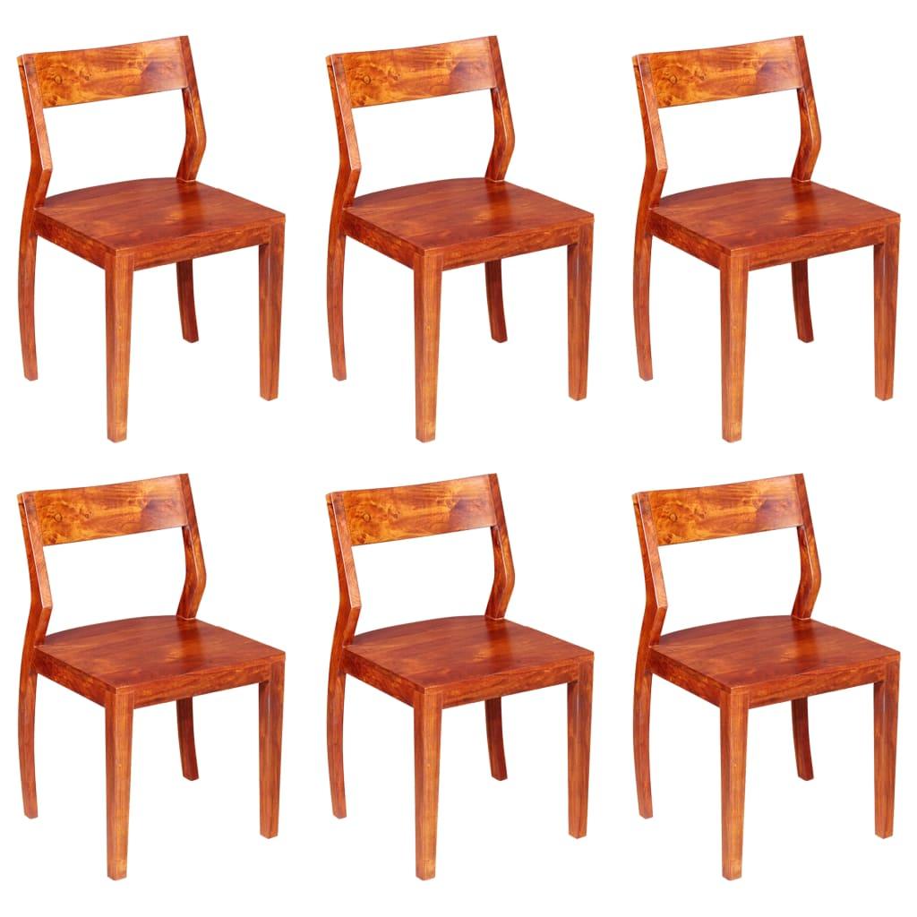 vidaXL Καρέκλες Τραπεζαρίας 6 τεμ. από Μασίφ Ξύλο Ακακίας & Sheesham