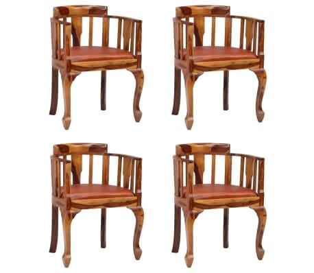 vidaXL Chaises de salle à manger 4 pcs Cuir véritable et Sesham massif