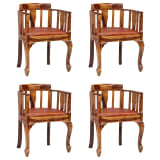 vidaXL Dining Chairs 4 pcs Real Leather and Solid Sheesham Wood