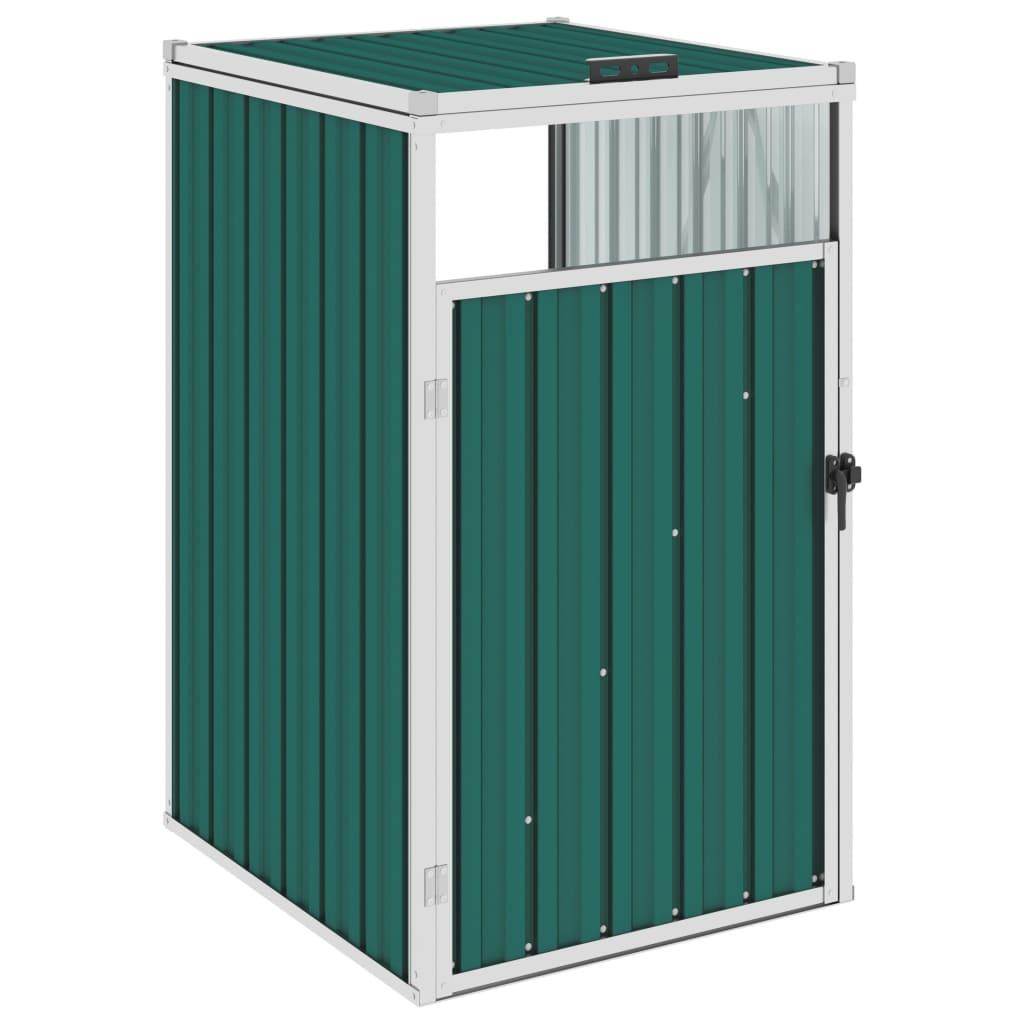vidaXL Magazie pentru pubelă, verde, 72 x 81 x 121 cm, oțel vidaxl.ro