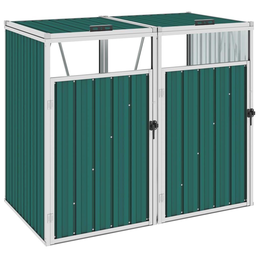 vidaXL Magazie pubele dublă, verde, 143 x 81 x 121 cm, oțel vidaxl.ro