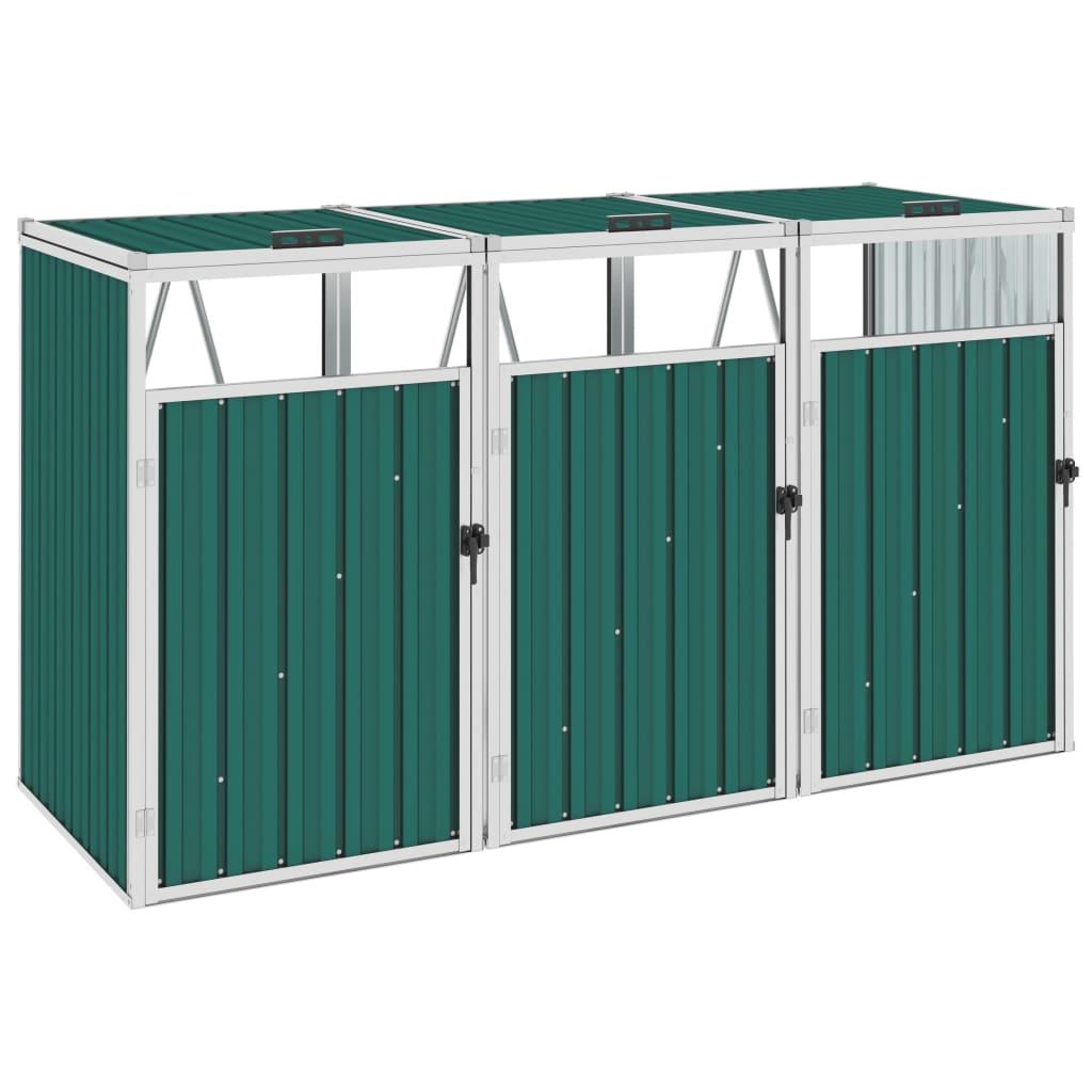 vidaXL Magazie pubele triplă, verde, 213 x 81 x 121 cm, oțel vidaxl.ro