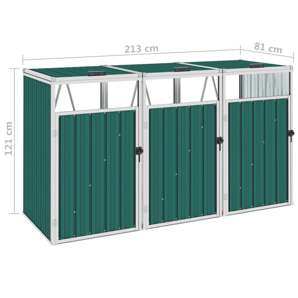 Afvalbakberging driedubbel 213x81x121 cm staal groen