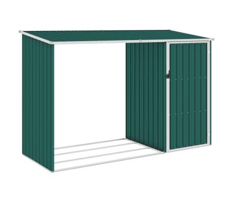 vidaXL Brandhoutschuur 245x98x159 cm gegalvaniseerd staal groen