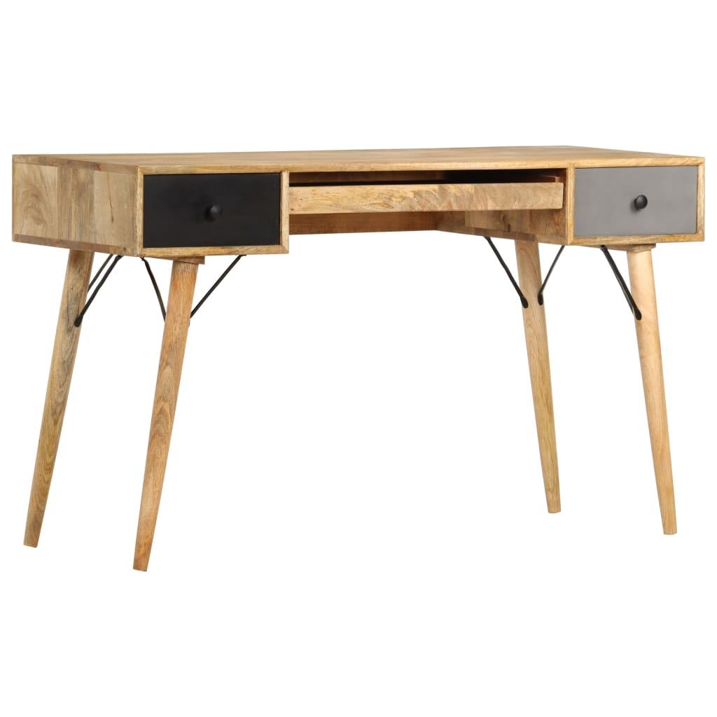 vidaXL Mangoholz Massiv Schreibtisch mit Schubladen Computertisch Bürotisch