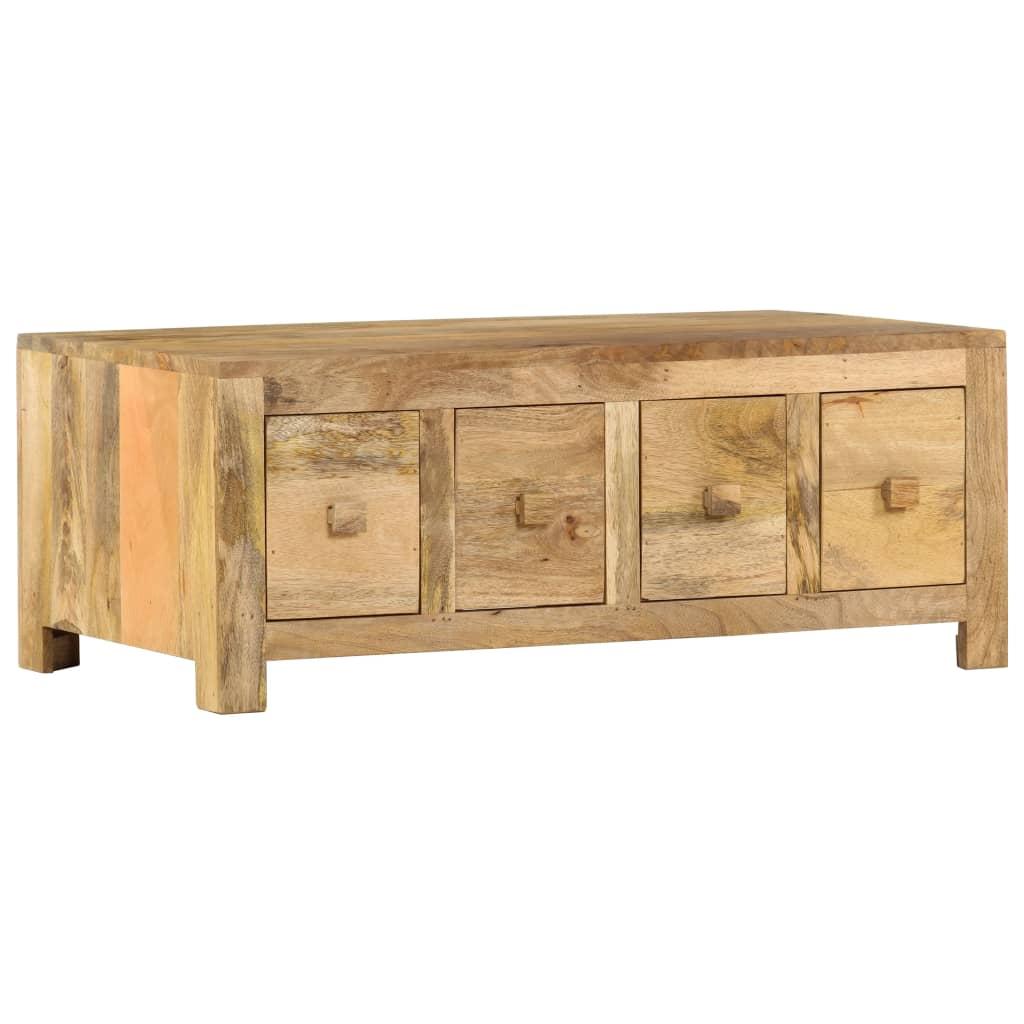 vidaXL Măsuță de cafea cu 4 sertare, 90x50x35 cm, lemn masiv de mango vidaxl.ro