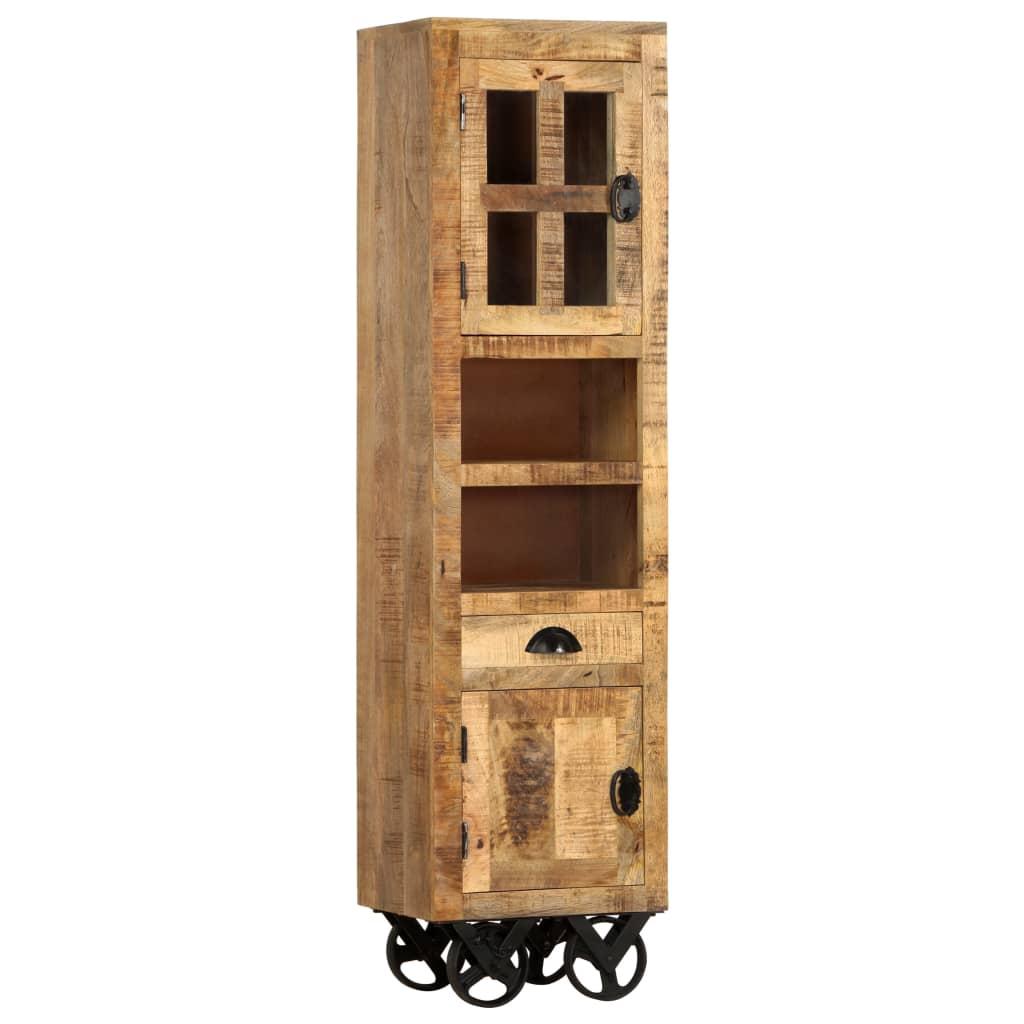 vidaXL Dulap înalt cu roți, 38x30x143 cm, lemn masiv mango nefinisat poza vidaxl.ro