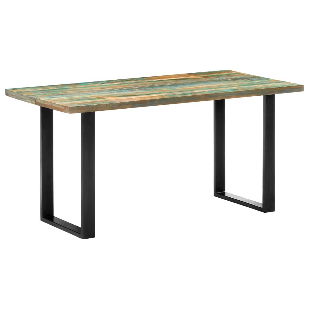 vidaXL Masă de bucătărie, 160 x 80 x 75 cm, lemn masiv reciclat imagine vidaxl.ro