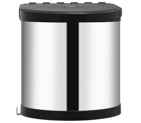 vidaXL Coș de gunoi încorporat de bucătărie, 8 L, oțel inoxidabil