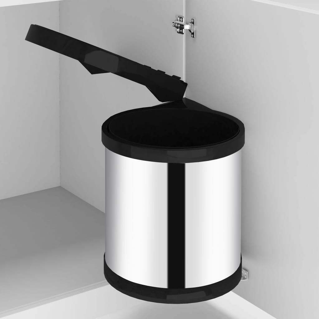 vidaXL Coș de gunoi încorporat de bucătărie, 8 L, oțel inoxidabil imagine vidaxl.ro