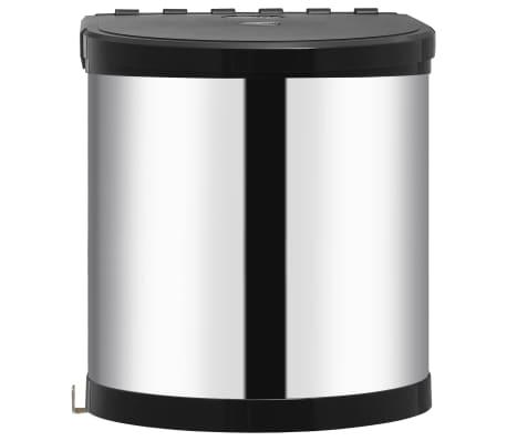 vidaXL Coș de gunoi încorporat de bucătărie, 12 L, oțel inoxidabil