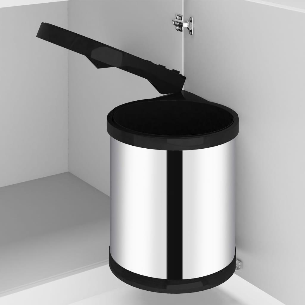 vidaXL Coș de gunoi încorporat de bucătărie, 12 L, oțel inoxidabil poza vidaxl.ro