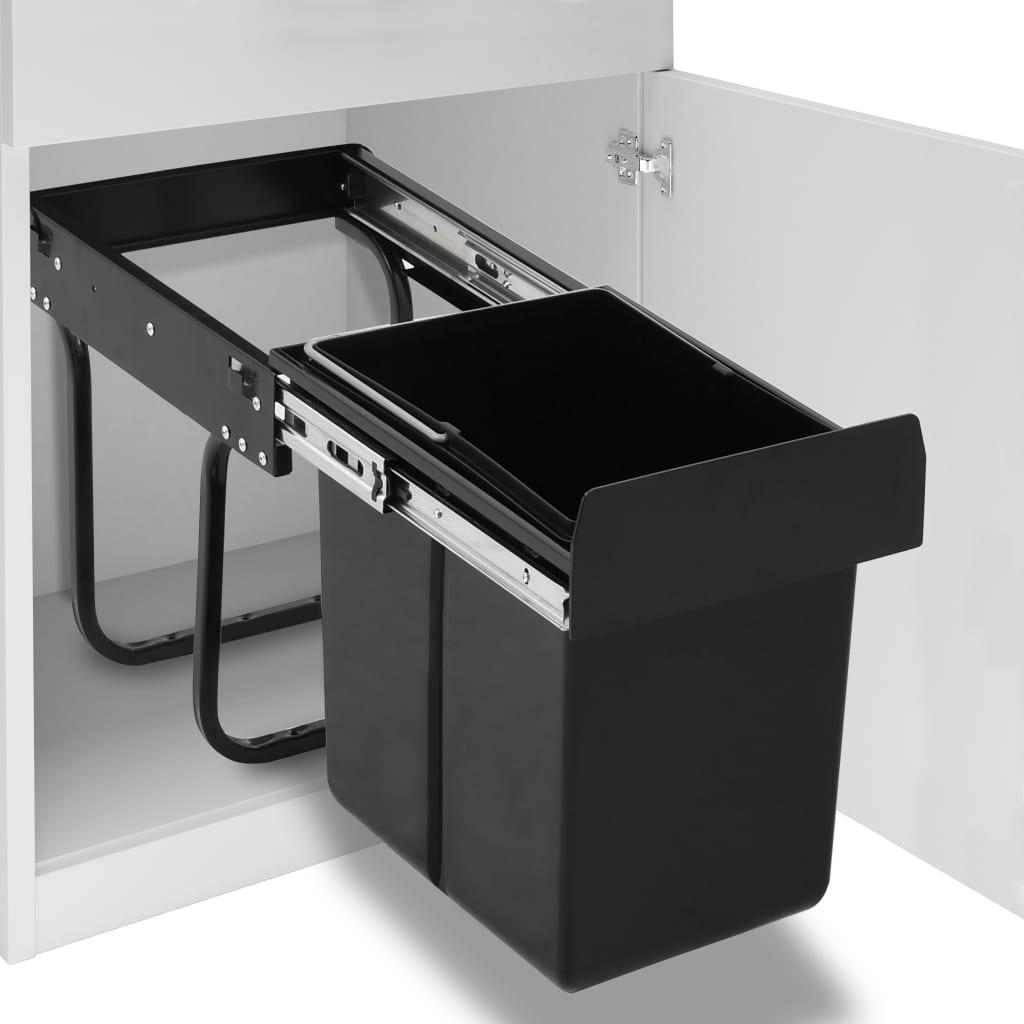 vidaXL Coș gunoi retractabil pentru dulap bucătărie, silențios, 20 L vidaxl.ro