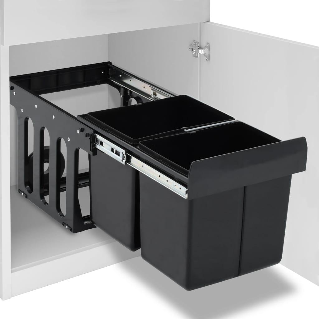 vidaXL Coș gunoi retractabil dulap de bucătărie închidere lentă, 36 L poza vidaxl.ro