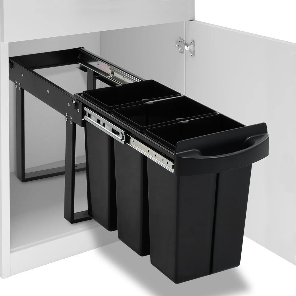 vidaXL Coș de gunoi retractabil dulap bucătărie închidere lentă 36 L imagine vidaxl.ro