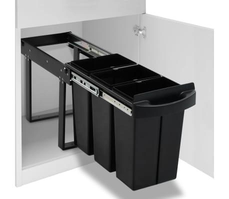 vidaXL Coș de gunoi retractabil dulap bucătărie închidere lentă 36 L