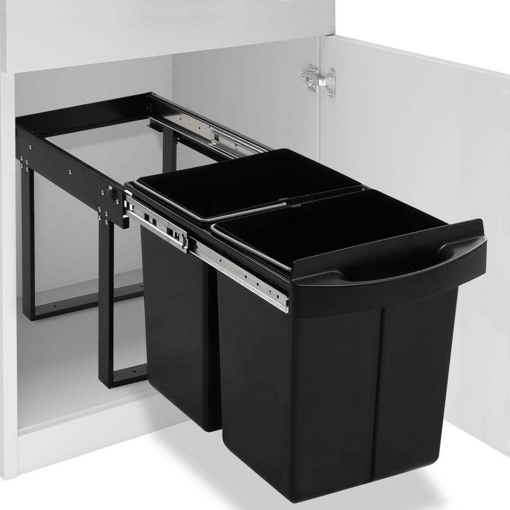 vidaXL Coș de gunoi retractabil dulap bucătărie închidere lentă 48 L imagine vidaxl.ro
