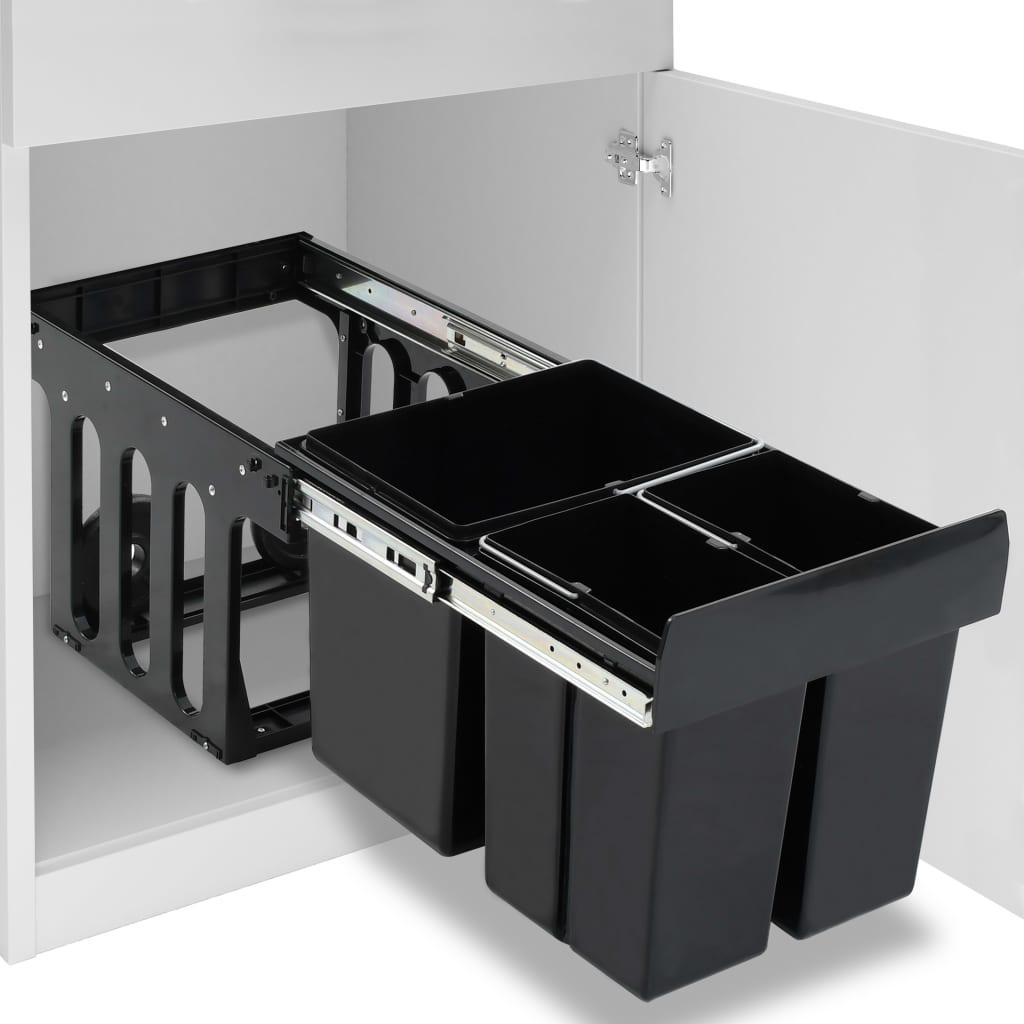 vidaXL Coș gunoi retractabil pentru dulap bucătărie, silențios, 48 L imagine vidaxl.ro