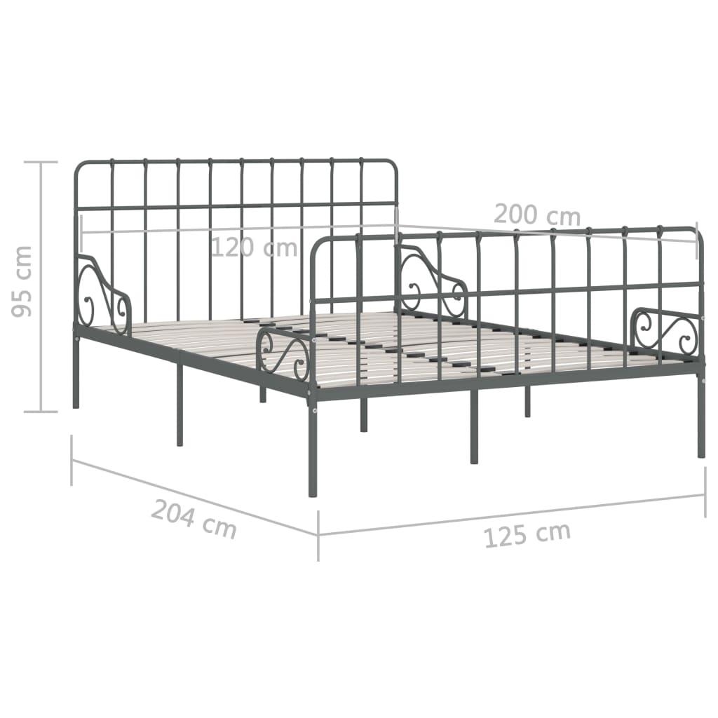 Liistudest põhjaga voodiraam hall, metall, 120 x 200 cm