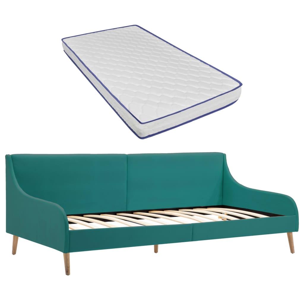 vidaXL Cadru pat de zi cu saltea spumă memorie, verde, textil imagine vidaxl.ro