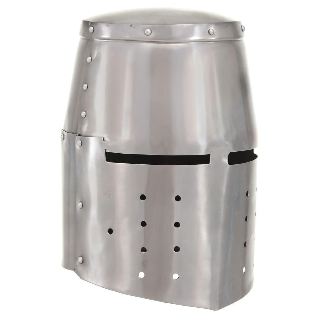 vidaXL Coif cavaler medieval antic, jocuri pe roluri, argintiu, oțel poza 2021 vidaXL