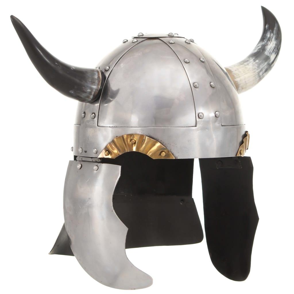 Fantasy vikingská přilba pro LARPy stříbrná ocel