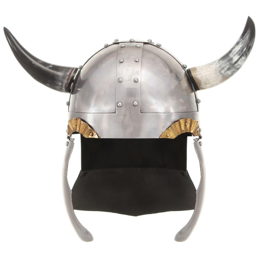 vidaXL Vikinghelm fantasie LARP staal zilverkleurig