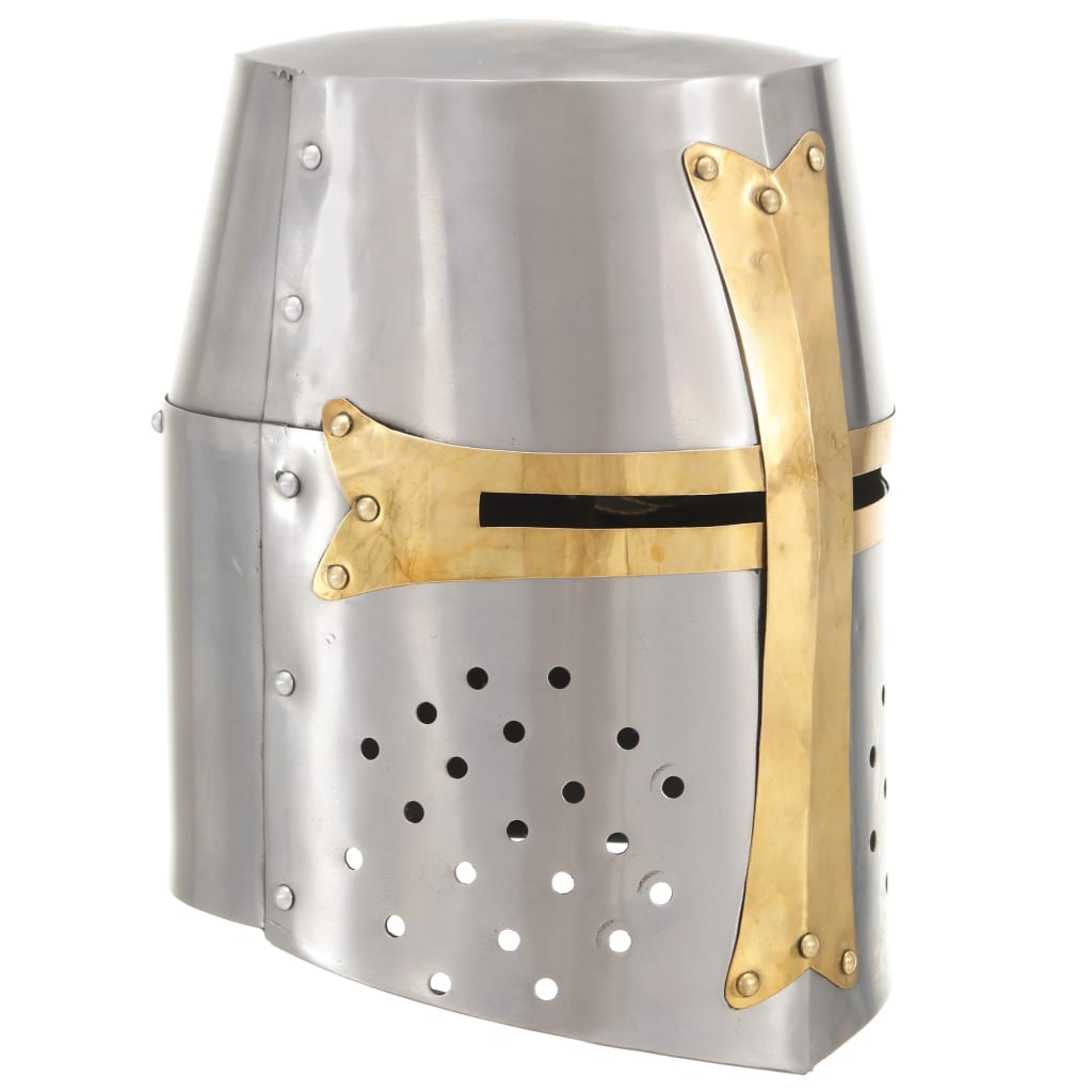 vidaXL Coif de cavaler medieval antichizat joc rol, argintiu, oțel vidaxl.ro