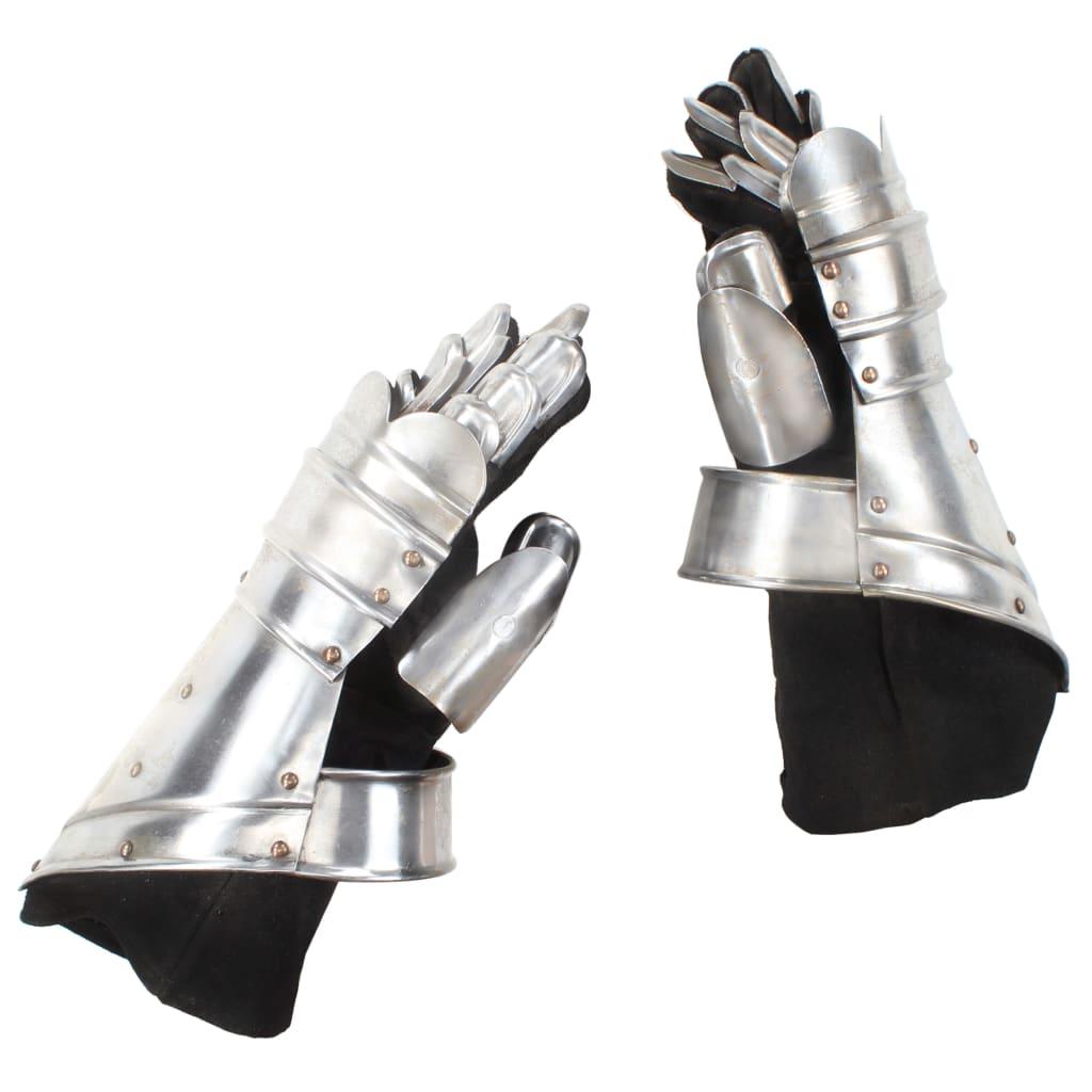 Středověké plátové rukavice pro LARPy replika stříbro ocel