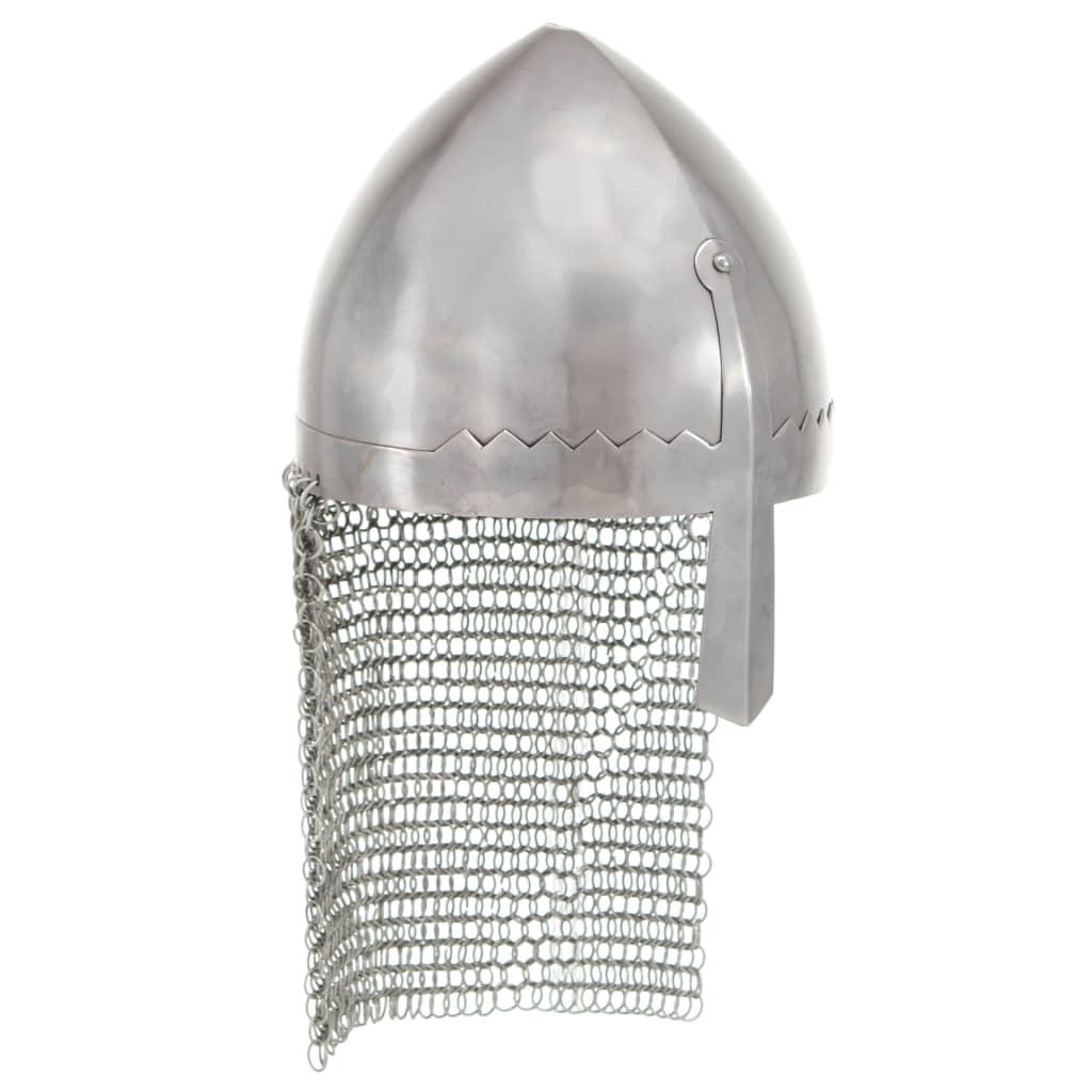 vidaXL Coif cavaler antichizat, jocuri pe roluri, argintiu, oțel poza 2021 vidaXL