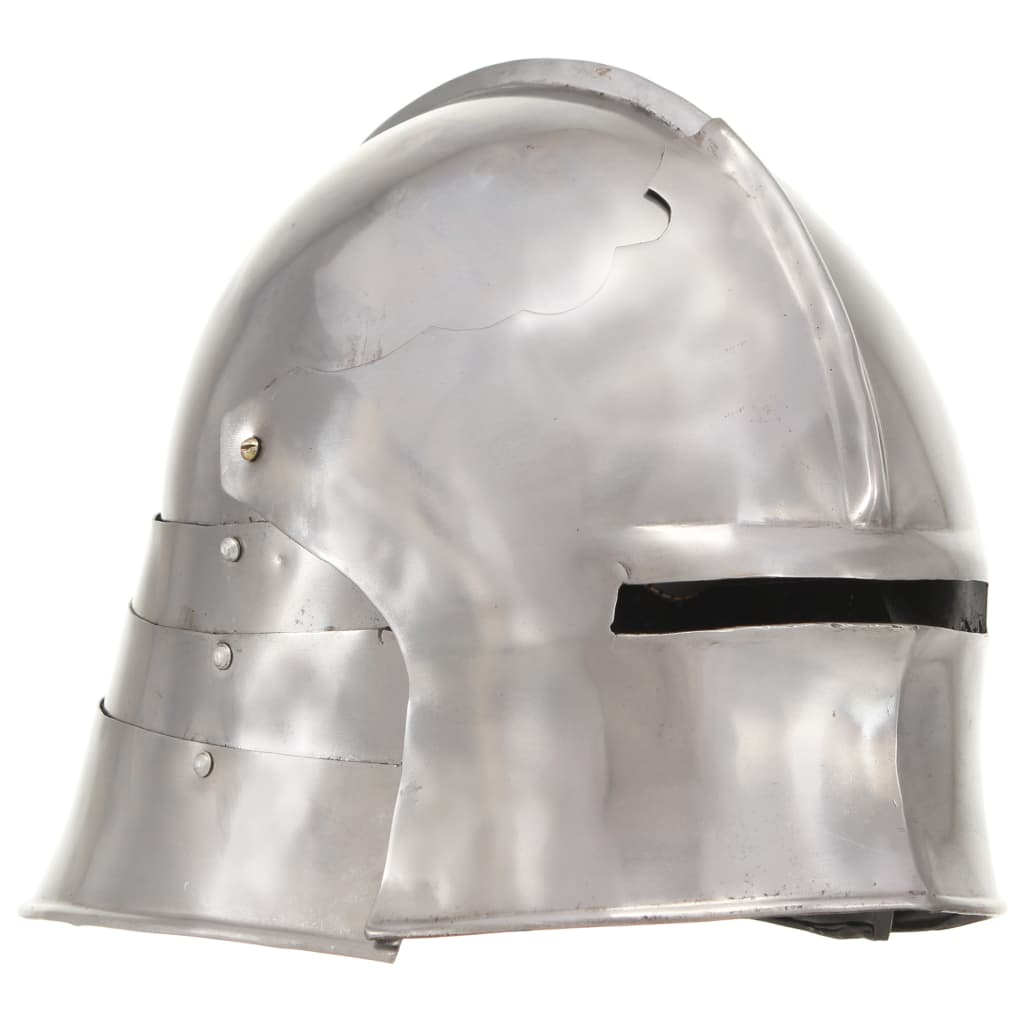 vidaXL Coif cavaler medieval, antichizat, joc de rol, argintiu, oțel poza 2021 vidaXL