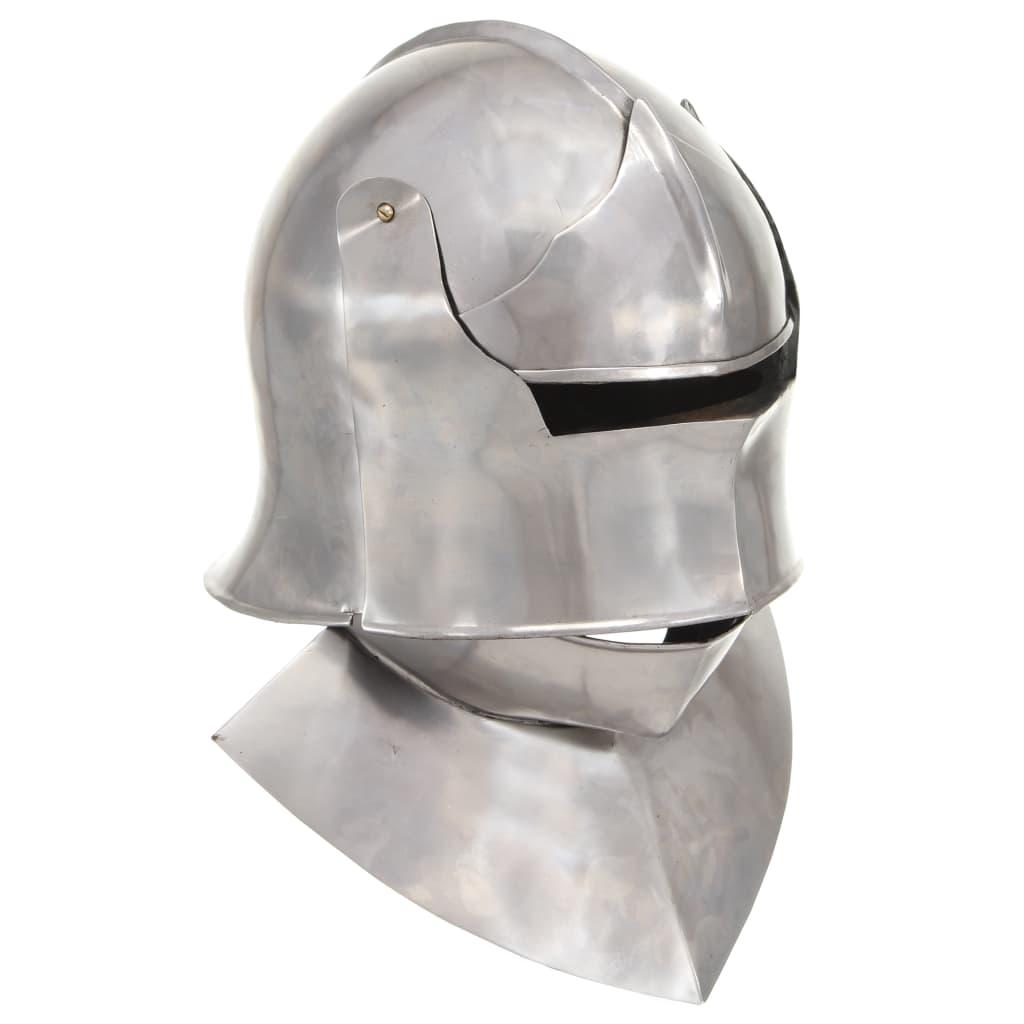 Středověká rytířská přilba pro LARPy replika stříbro ocel