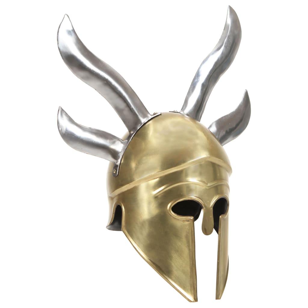 vidaXL Coif războinic grec aspect antic, joc de rol, alamă, oțel poza 2021 vidaXL