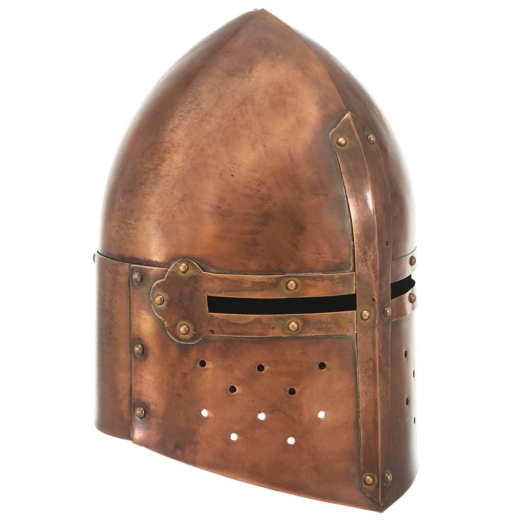 Středověká rytířská přilba pro LARPy replika měděná ocel