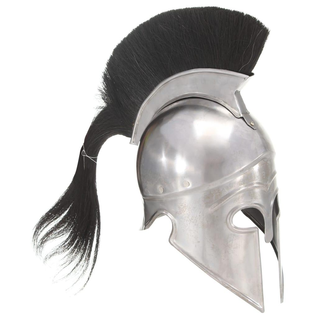 vidaXL Coif războinic grec, aspect antic, joc de rol, argintiu, oțel poza 2021 vidaXL