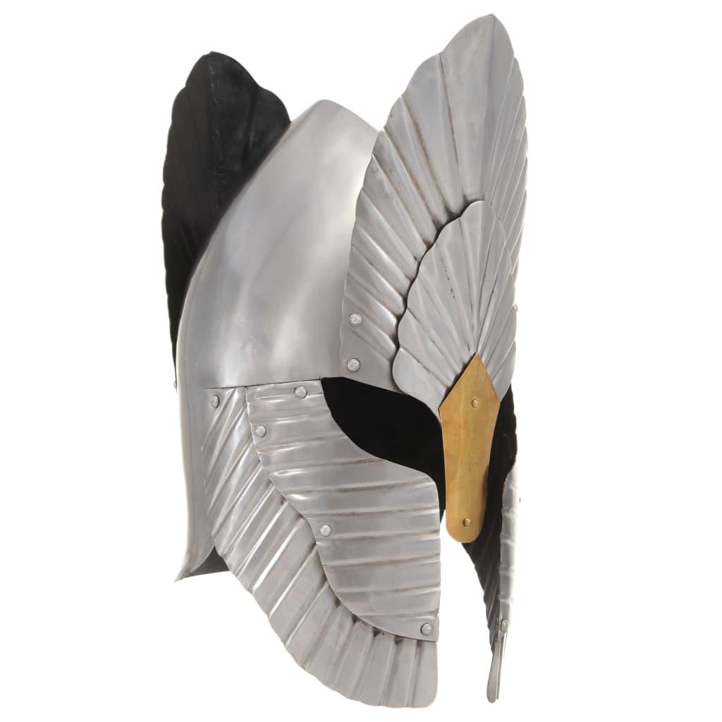 Fantasy středověká rytířská přilba pro LARPy stříbrná ocel