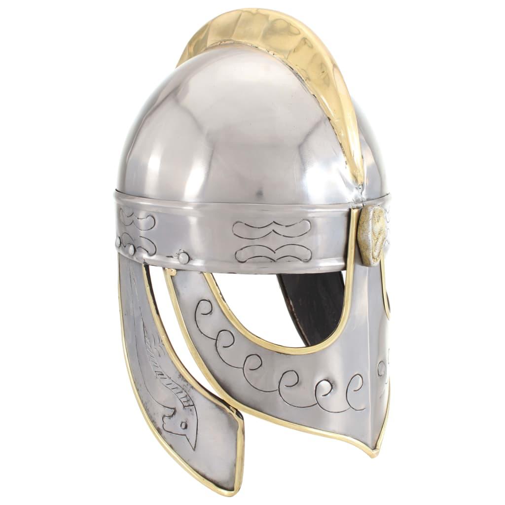 Beowulf přilba pro LARPy replika stříbro ocel
